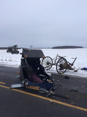 A 50-year-old rural Dorchester man has died following a logging truck vs. horse-drawn buggy crash Thursday afternoon in the Clark County town of Mayville.