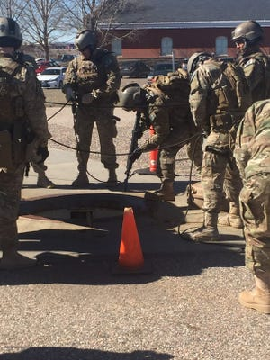 Air Force security forces in a training exercise to secure a missile silo at F.E. Warren Air Force Base in Wyoming