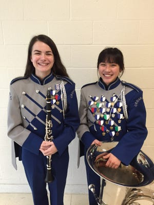 Cedar Crest High School students Ashley Peters, left, and Meredith Fuller were selected for the recent Regional Band competition at Central York High School. Fuller also advanced to participate in the All State Band in Hershey.