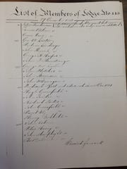 A copy of the list of founding members of Lodge 143.