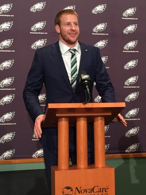 Carson Wentz meets the media in Philadelphia on Friday, one day after the Eagles made him the No. 2 pick in the draft.