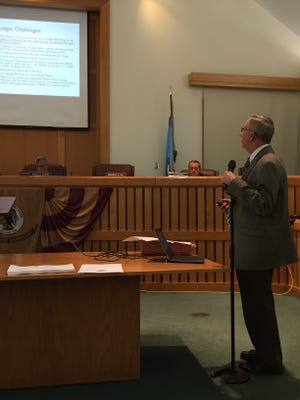 Toms River Administrator Paul J. Shives gives a presentation on the township's 2016 budget.