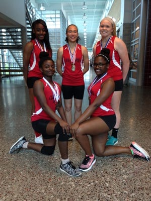 Clockwise from top left: Ashley Woolfork, Jennica Terry, Paige Cockey, Trinity Dix and Azarelle Mapp.