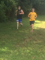 Kristy and Jonson Dentond during a training run earlier in thear yer.