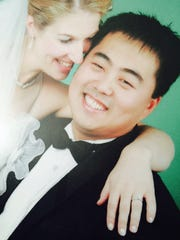 Erin and Tao Pei at their 2005 wedding. Her diamond