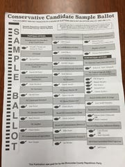 "This is the ""Conservative Candidate Sample Ballot"" distributed by the Buncombe County GOP."