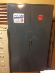It took six men to move the new evidence locker, donated by Madison Manufacturing, into the Hot Springs Police Department, according to police chief David Shelton.