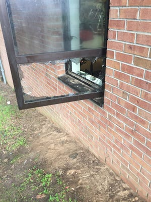 An exterior window was broken during a break in at Riley Elementary on New Year's Eve.