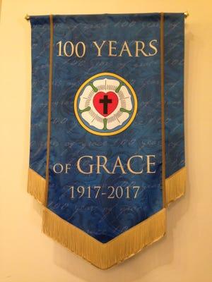 Centennial Banner hanging at Grace Lutheran Church