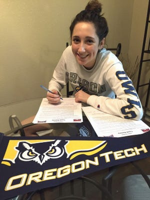 Central Valley's Tayah Ranney signs to play basketball for the Oregon Tech Lady Owls in Klamath Falls, Oregon.