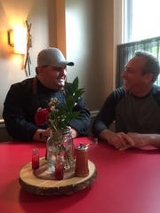 Executive Chef David Murray (left) and owner Stu Wanicur share a laugh in one of four dining rooms  at The Farmhouse in Cherry Hill. The farm-to-fork eatery is set to launch on May 16 at the former La Campange site.
