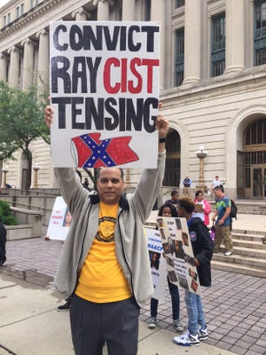 Joe Mallory, vice president of the Cincinnati NAACP branch, protests outside the Hamilton County Courthouse on Day 1 of Ray Tensing's retrial.
