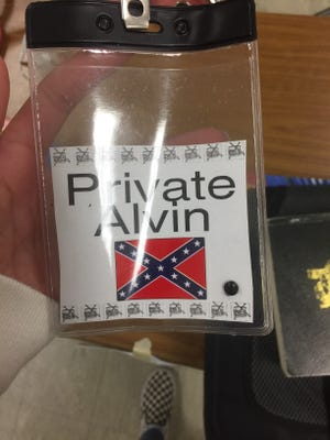 The badges some students in a Hayes Middle School classroom were asked to wear during a month-long Civil War lesson.