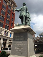 "This Tuesday, Aug. 15, 2017 photo shows the statue of  John C. Breckinridge in Lexington, Ky. Lexington Mayor Jim Gray said he will ask the city council to take the first step in removing two Confederate memorials to Confederate officers John C. Breckinridge and John Hunt Morgan. Gov. Matt Bevin says he ""absolutely"" disagrees with removing Confederate symbols and monuments from government property, calling it the ""sanitization of history."""