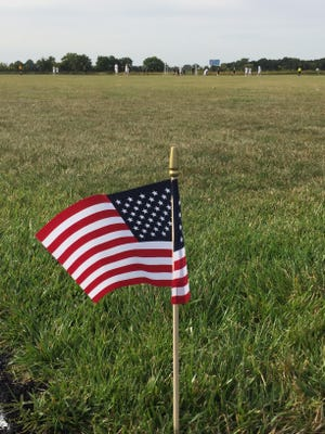 River Valley's boys soccer team made tribute to 9-11 during Monday's match with Clear Fork, lining the field with miniature American flags. The Vikings and Colts played to a scoreless tie in the varsity match.