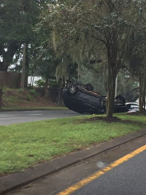 Traffic is backed up and being diverted on Thomasville Road after a vehicle rollover.