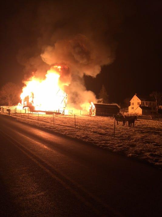 Barn fire, 5900 block of Ambau Road in North Codorus Twp.
