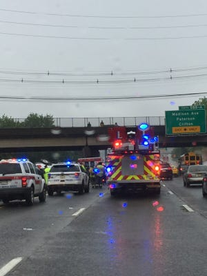 A car overturned on Route 80 west Thursday morning.