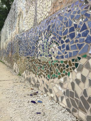 The 'Oasis' mosaic on the wall of a Met-Ed facility on West Philadelphia Street in York was created in 2008 by artist Mary Cantrell Tellez. Met-Ed is looking for funding and a contractor to repair the crumbling tiles and grout.
