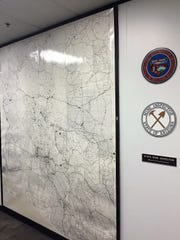A map outside the state mine inspector's office displaying