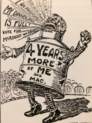 """Campaign cartoons such as this one of a """"full dinner pail"""" boasted of what William McKinley's 1900 campaign planners viewed as the major accomplishment of McKinley's first term -- prosperity."""