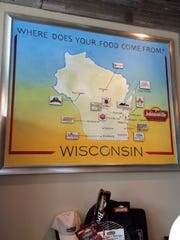 A map of Wisconsin showing where some Johnsonville products come from
