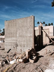 Poured concrete wals are beginning to take shape at site of the Arrive Palm Springs, the city's newest hotel costruction, built from the ground up, in at least 10 years.