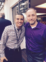 """Jay Singleton, right, poses with member of the """"Jeopardy!"""" clue crew, Jimmy McGuire. Singleton is a teacher at Wilson Memorial High School and will appear on the famous quiz show in early February."""