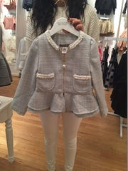 Chanel-inspired toddler jacket at Kid Couture Boutique which opened 6 weeks ago at the Palisades Center in West Nyack.