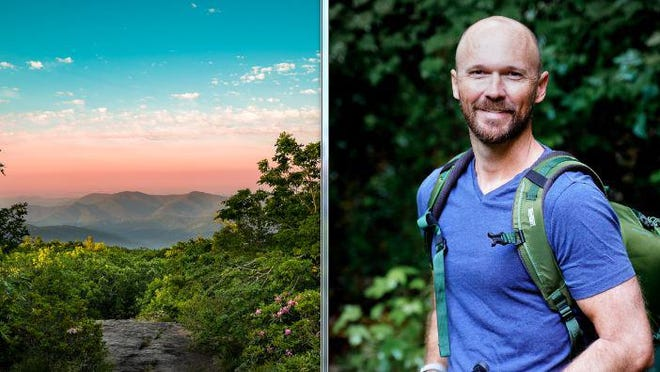 Chris Greer, right, and one of his photographs showing Blood Mountain in the Northeast Georgia mountains.