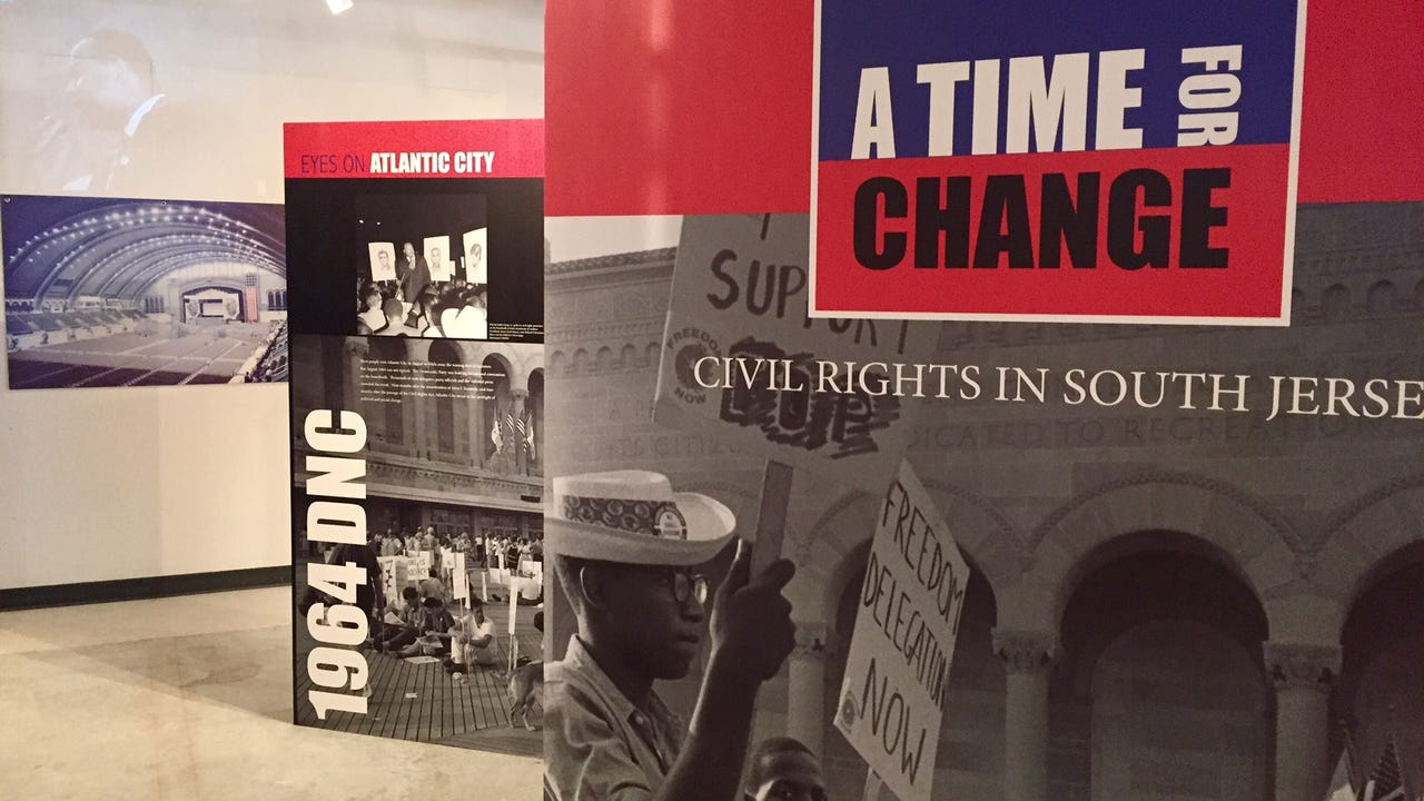 An exhibit examining the history of civil rights in South Jersey, from the 1964 DNC to the 1968 Miss Black America.
