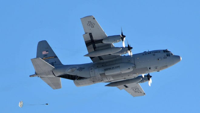 A MANG C-130 conducts an air drop over the Chargin' Charlie drop zone at Malmstrom Air Force Base on Thursday. The drop zone was recently reactivated.
