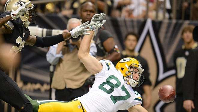 Green Bay Packers receiver Jordy Nelson (87) tries to make a catch against the New Orleans Saints during Sunday night's game at the Superdome in New Orleans. Evan Siegle/Press-Gazette Media