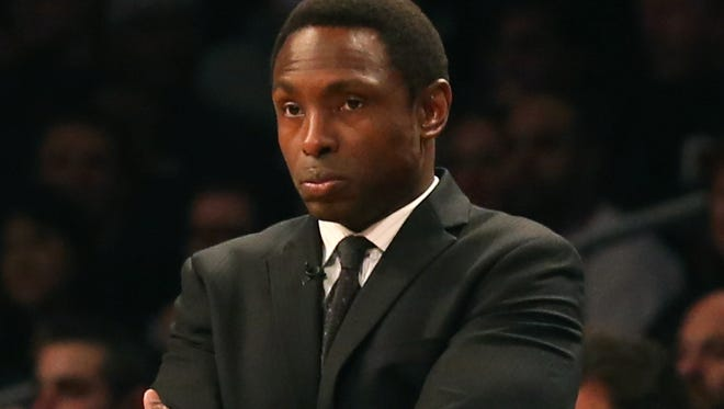 Dec 11, 2012; New York, NY, USA;  Brooklyn Nets head coach Avery Johnson reacts during the first quarter against the New York Knicks at Barclays Center.  Mandatory Credit: Anthony Gruppuso-USA TODAY Sports   ORG XMIT: USATSI-95576 ORIG FILE ID:  20121211_ajl_ag9_044.jpg