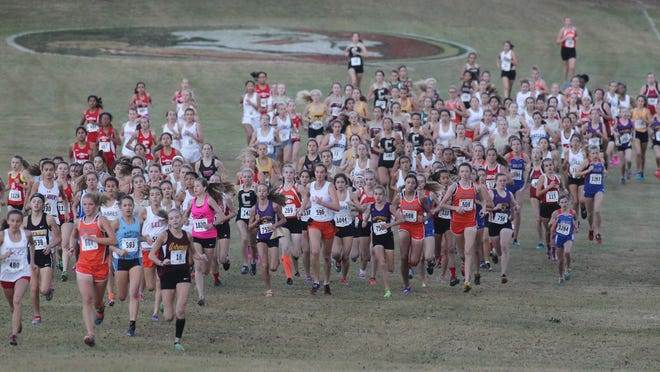 Runners begin start of Class 2A Girls State Cross Country Championships Saturday at the Apalachee Regional Park in Tallahassee. All three classifications in boys and girls cross country were held Saturday at the same site.
