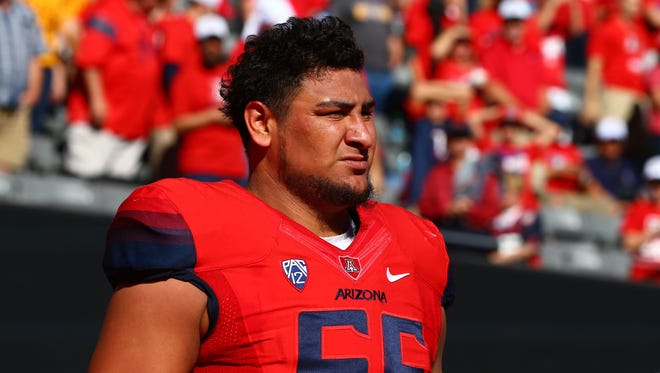 Arizona Wildcats offensive lineman Steven Gurrola looks on from the sideline during the 88th annual Territorial Cup at Arizona Stadium in Tucson on Nov. 28. The Wildcats defeated the Sun Devils 42-35 to win the Pac-12 south title.