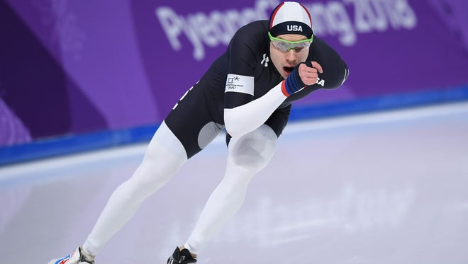 USA's Brian Hansen competes in the men's 1,500m speed skating event during the Pyeongchang 2018 Winter Olympic Games at the Gangneung Oval in Gangneung on February 13, 2018.