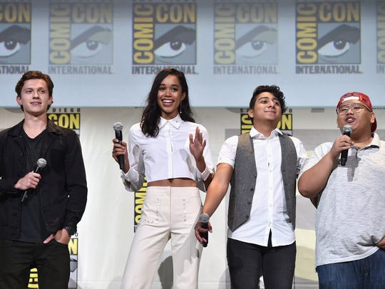 Tom Holland with his 'Spider-Man: Homecoming' co-stars