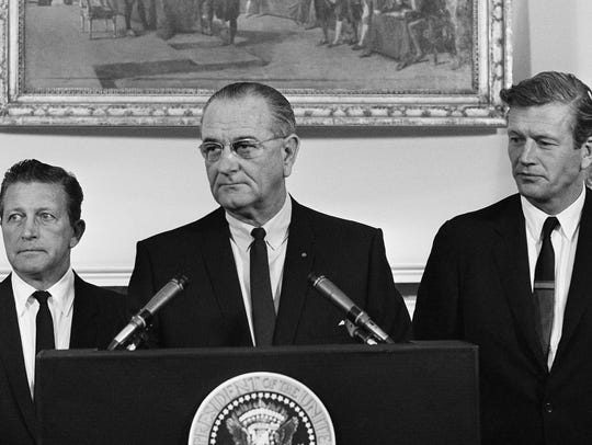 President Lyndon Johnson speaks to members of his National