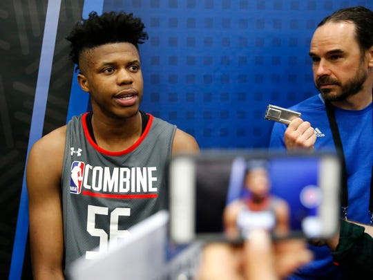 Justin Patton, from Creighton, responds to a question at the NBA draft combine May 11, 2017 in Chicago.
