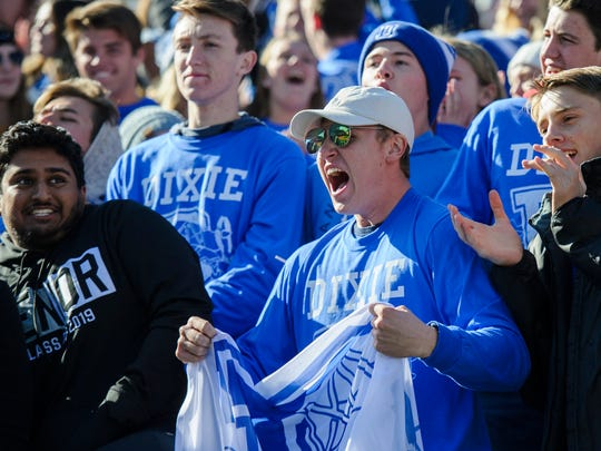 Dixie High School students cheer during the Class 4A state championships at Rice-Eccles Stadium in Salt Lake City Friday, November 16, 2018.