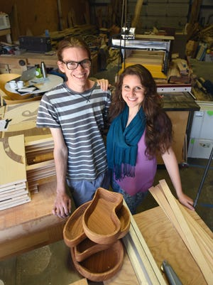 Husband-and-wife duo Morgan Berry Welch and Sarah Hanna Qarqish are also partners in their business, the HannaBerry Workshop.