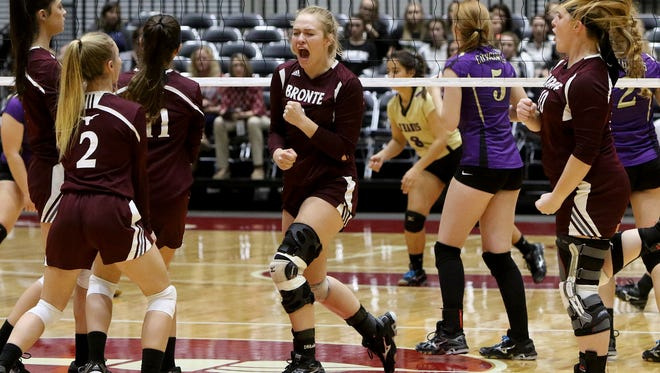 Bronte celebrates winning a point against D'Hanis Wednesday, Nov. 15, 2017, in the 1A state semifinal at the Curtis Culwell Center in Garland.