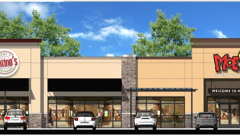Rendering of the new Moes opening in Pace. The other building will be a Santino's Pizza and Grinders