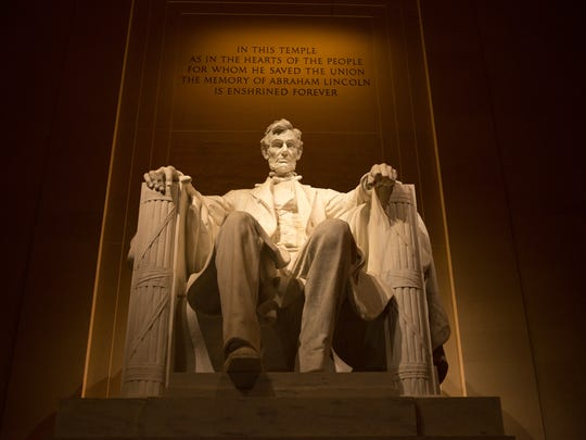 Inside the Lincoln Memorial is an exquisite statue of the nation's 16th president, flanked by the Gettysburtg Address.