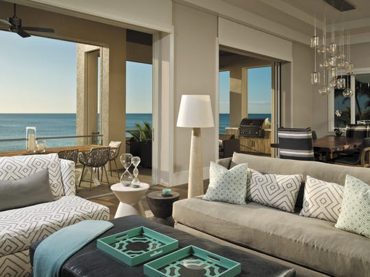 Inspired by the breathtaking views of the Gulf, this 7,600-square-foot Bonita Beach remodel was designed as a beach house vacation home and underwent a major transformation, stripping away the heavy, formal influence of the past to reveal a fresh, modern coastal style.  The space was awarded Interior Design of the Year, for a remodel, in the 2016 Sand Dollar Awards.