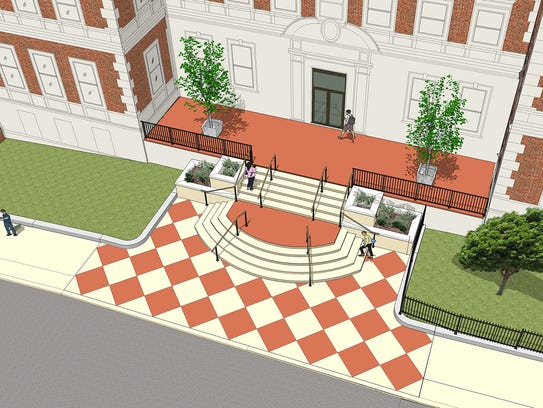 An artist rendering of the redesigned main entrance