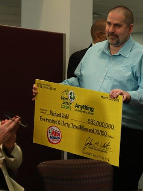 April 13, 2018: The winner of the 533 million Mega Millions lottery, Richard Wahl in Vernon, arrives at the lottery's headquarters to accept his check.