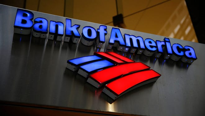 File photo shows Bank of America sign outside a bank branch in Philadelphia.