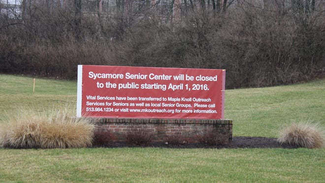 A sign outside of the Sycamore Senior Center, 4455 Carver Woods Drive, announces its 2014 closing. Hamilton County plans to build its new crime lab on the property.